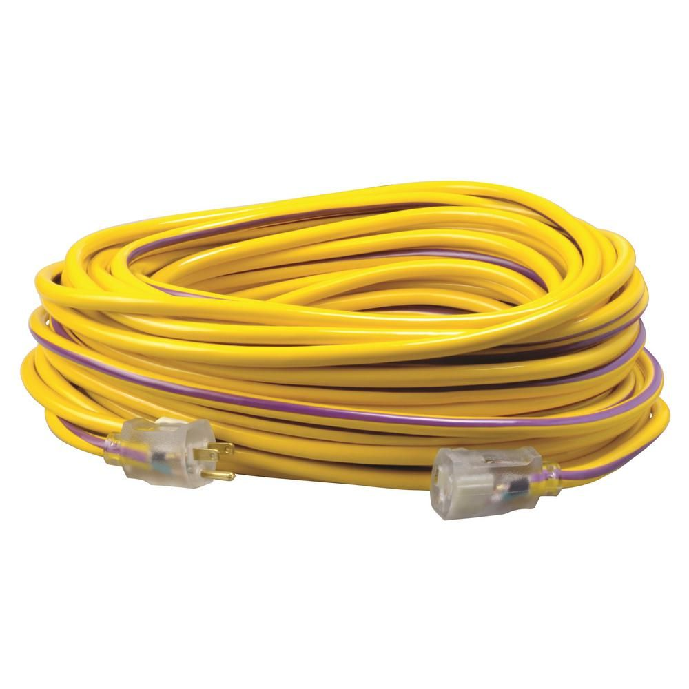 Southwire 100 Ft 12 3 Sjtw Hi Visbility Multi Color Outdoor Heavy Duty Extension Cord With Power Light Plug Yellow Purple Extension Cord Cord Purple Extensions