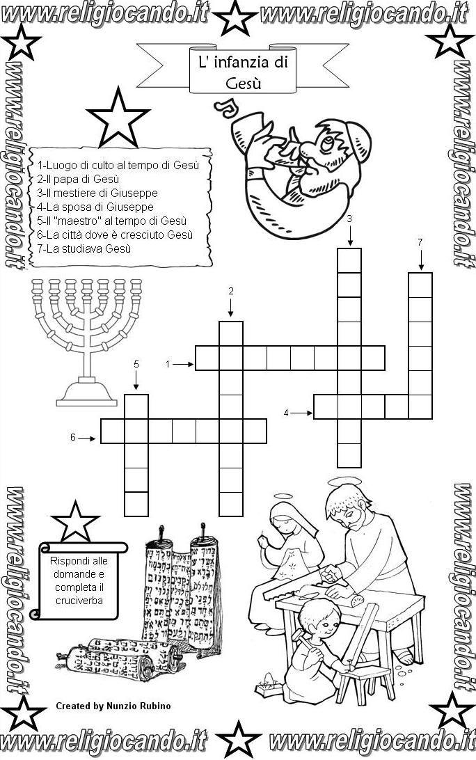Infanzia di ges cruciverba infanzia di ges religione for Cruciverba per bambini catechismo