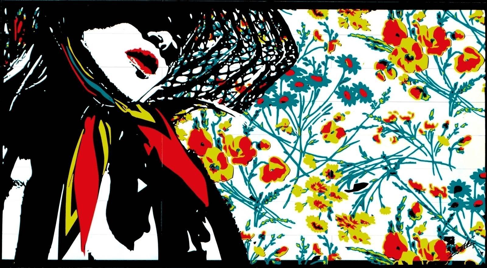 tableau peinture acrylique pop art color moderne design femme visage chapeau fleur coquelicot. Black Bedroom Furniture Sets. Home Design Ideas
