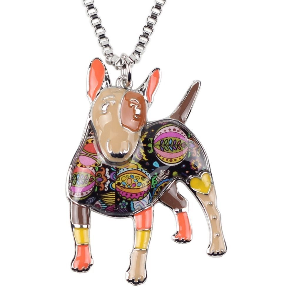 NEW Bonsny Enamel Alloy Bull Terrier Dog Tan Charm Necklace Dog Lover #Bonsny #Chain