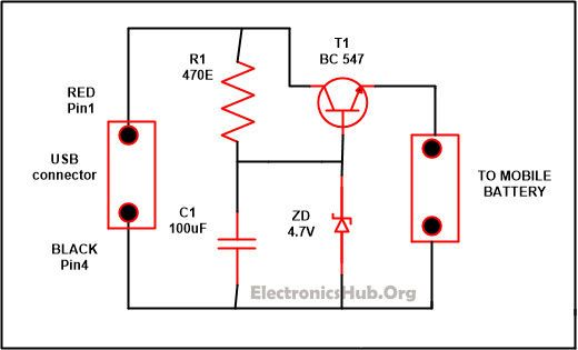 USB Mobile Phone Travel Charger Circuit | Circuit diagram ... on