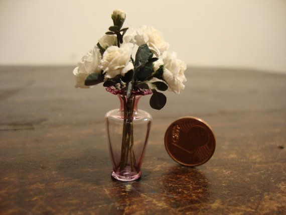 Dollhouse Miniature Glass Vase With White By Bagusitalyminiatures