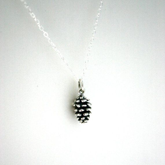 Sterling silver pinecone necklace  charm necklace by JustJaynes, $28.00