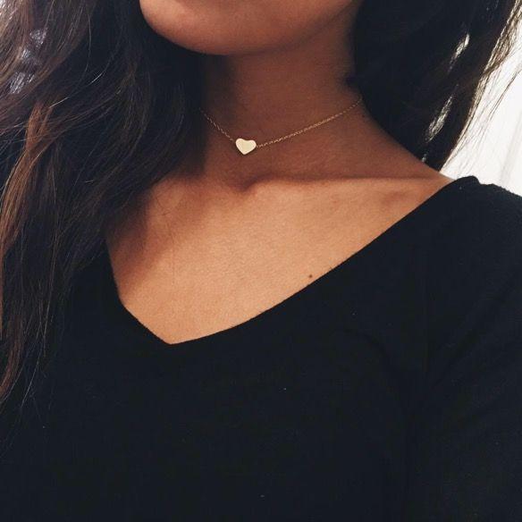 Tiny Gold Heart Accesorios Para Mujer Collar De Moda Gargantilla Choker
