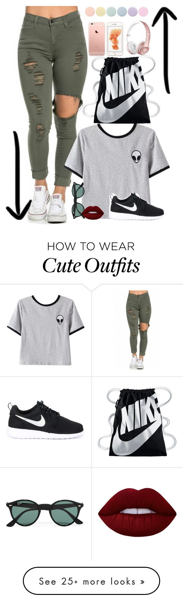 """Cute summer Outfit"" by awesomepenguin18 on Polyvore featuring Chicnova Fashion, NIKE, Ray-Ban, Deborah Lippmann and Lime Crime"
