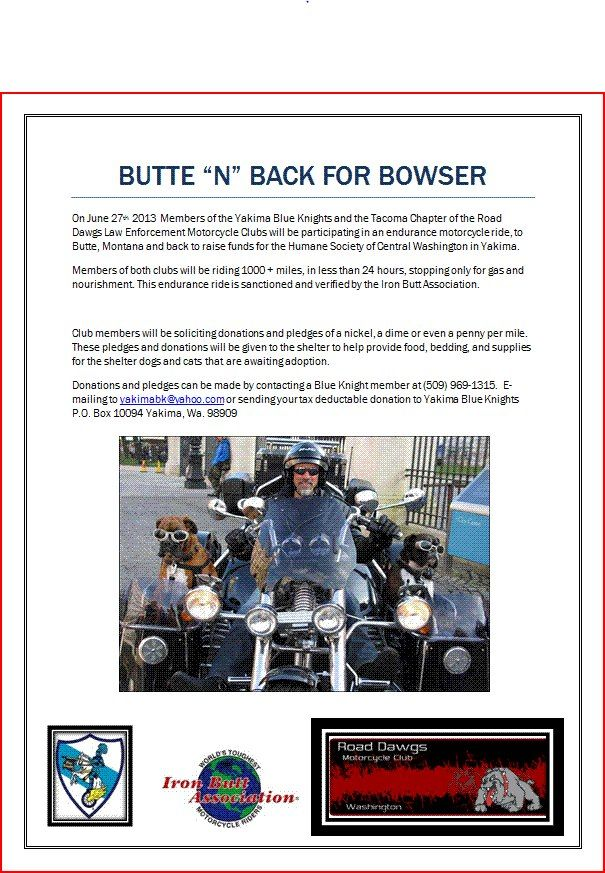 Butte n' Back for Bowser donations go to Yakima Humane
