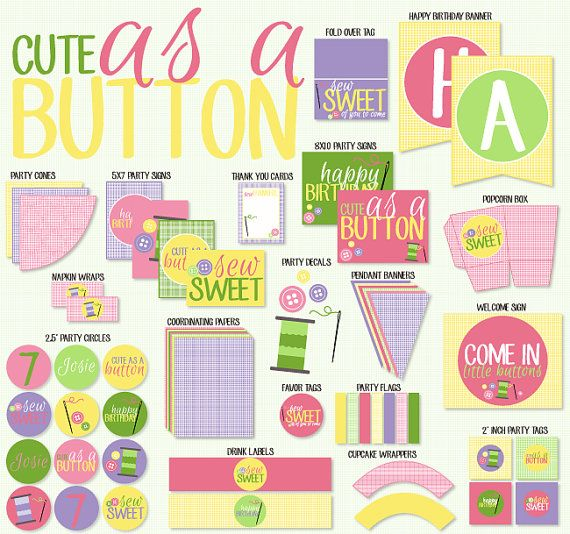 cute as a button party printable birthday by love by lovetheday