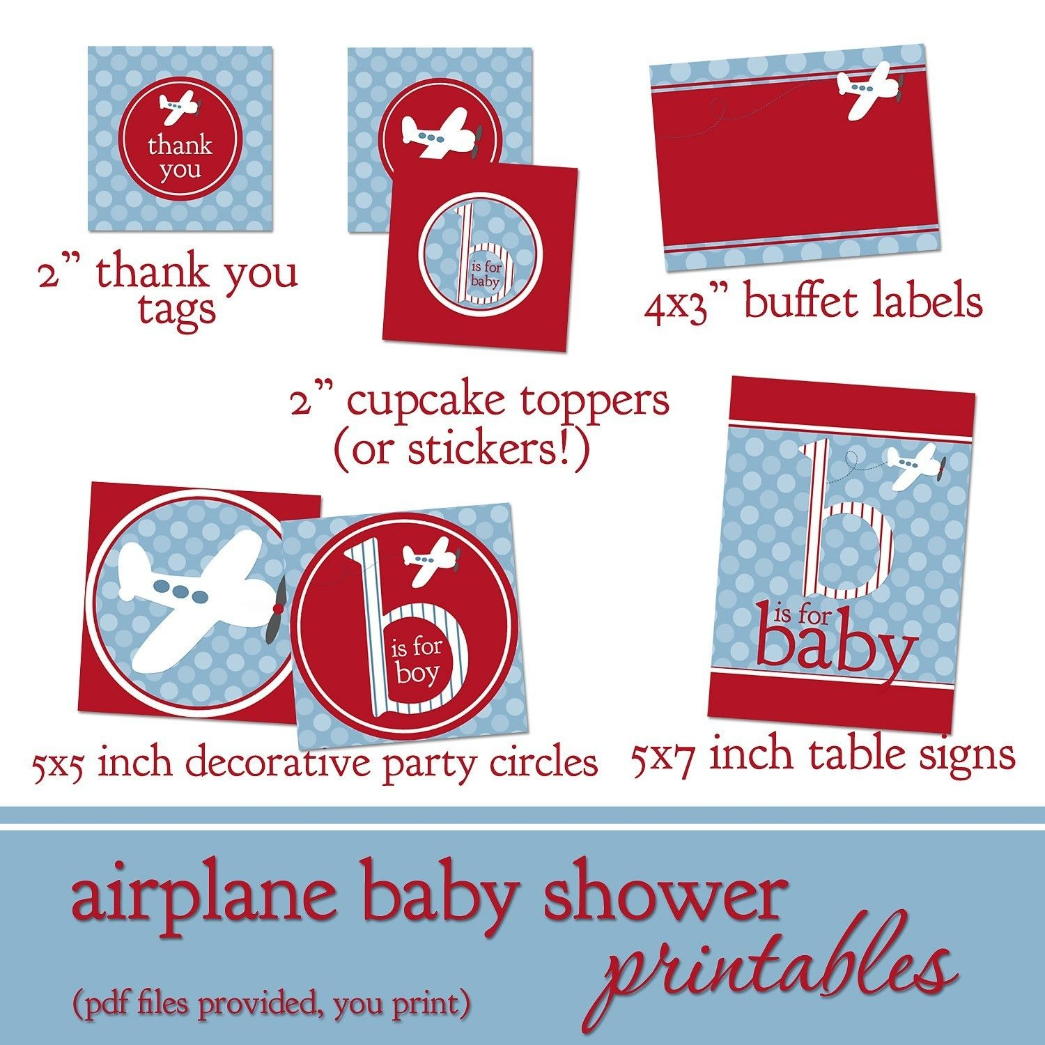 Airplane Baby Shower Printable Decorations