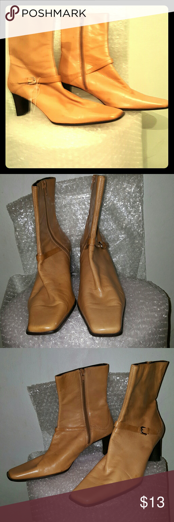 "Nine West Lagosta tan ankle boots 8.5 M 2.5"" brown stacked heel. Rubber sole. Leather lining has some damage& partially flaked off. Some staining to the leather upper. Square toe. Nine West Shoes Ankle Boots & Booties"
