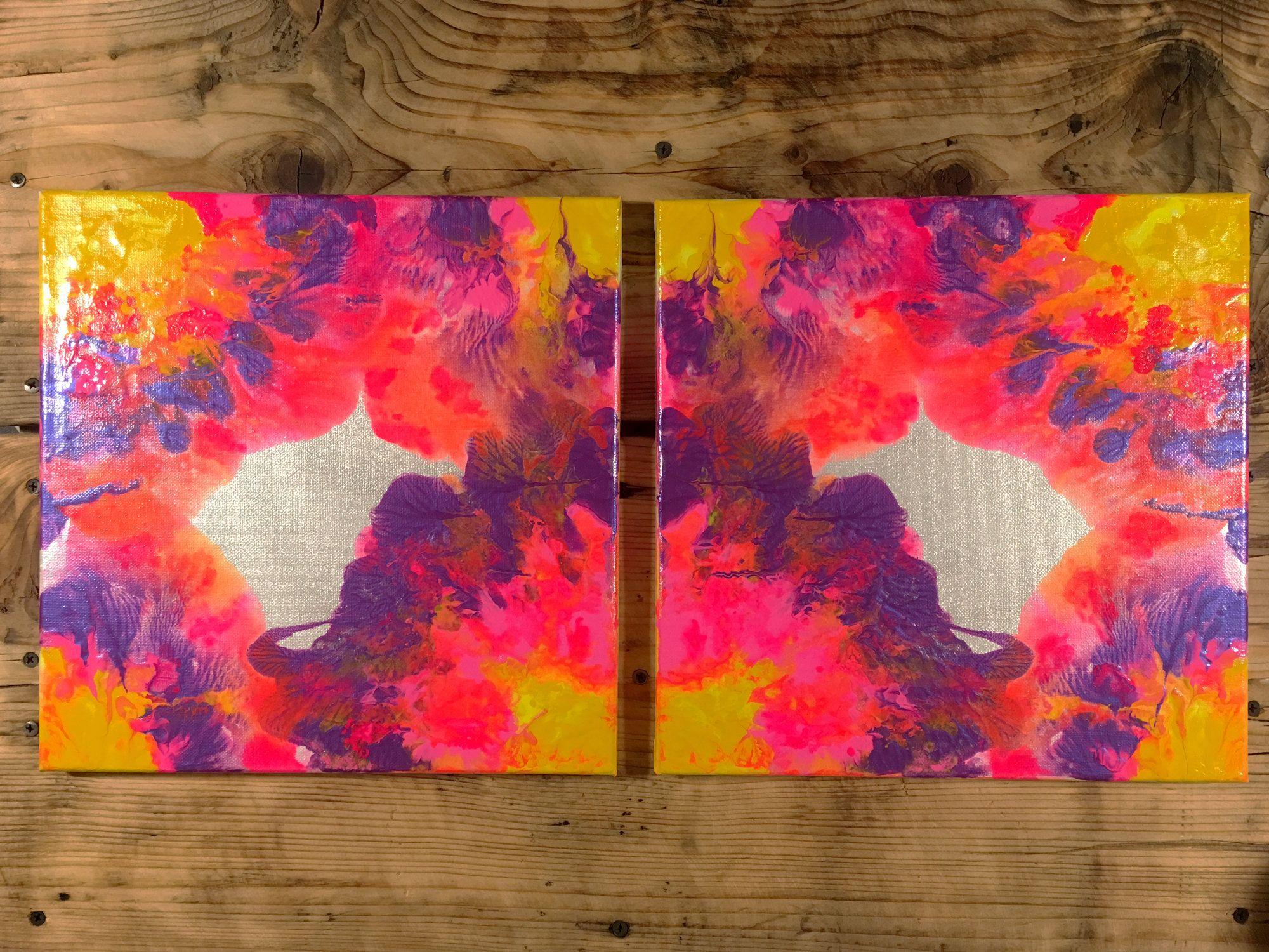 Abstract Painting Set Of 2 Bright Abstract Wall Art Etsy Rainbow Abstract Painting Etsy Wall Art Rainbow Abstract Art
