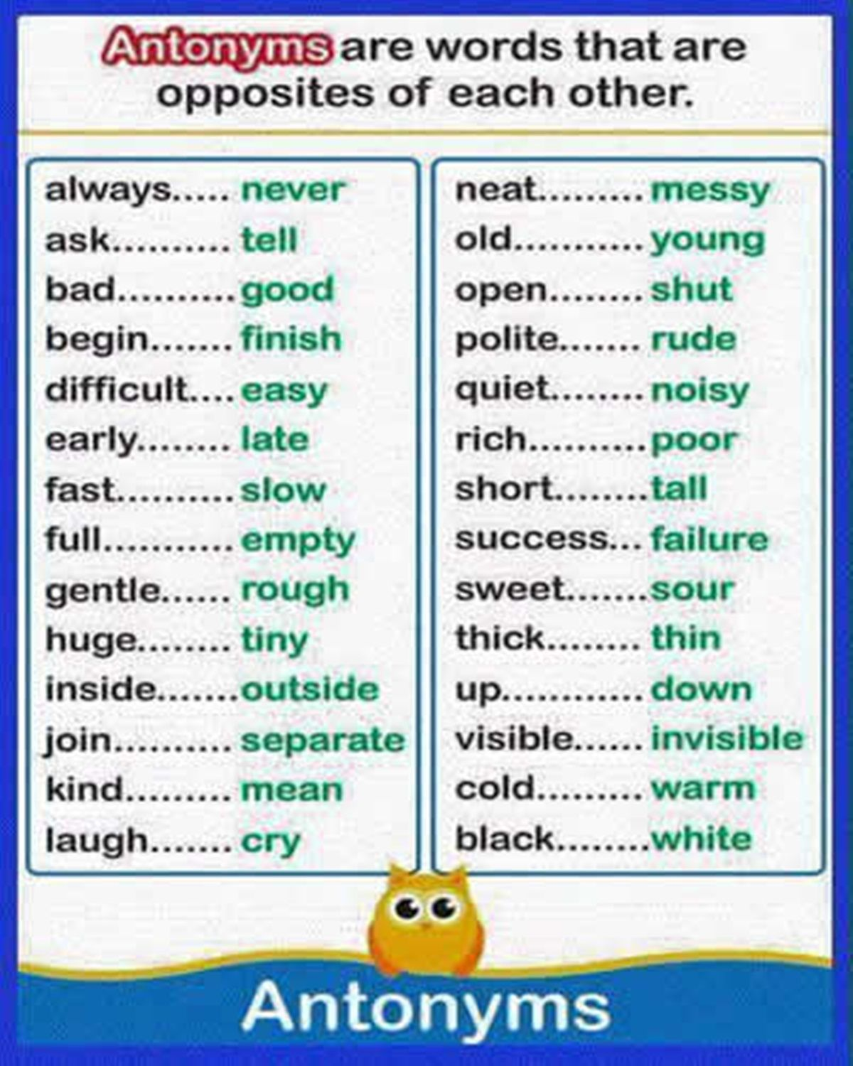 Common Opposite Words In English English Expressions Pinterest