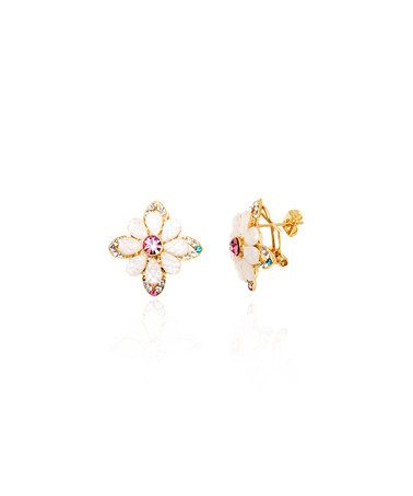 39c458830 Another great find on #zulily! Swarovski® Crystal & Gold & White Flower Stud  Earrings #zulilyfinds