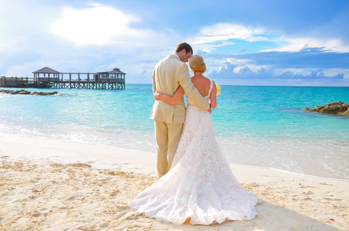 Gorgeous Real Weddingmoon At Sandals Royal Bahamian In Nassau Bahamas Weddings In The Bahamas Beach Wedding Purple Royal Bahamian Beach Wedding Guest Dress