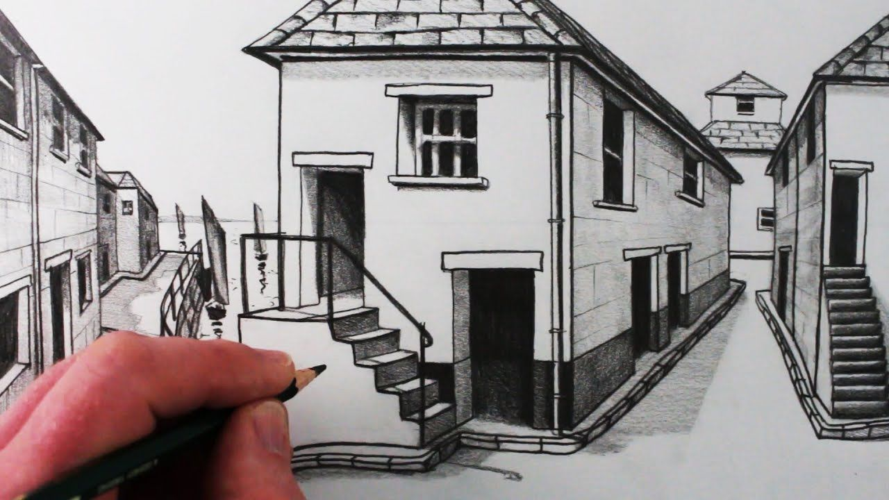 Learn How To Draw A House In 1 Point Perspective In This Step By Step Drawing Tutorial From Circle Li 1 Point Perspective Perspective Drawing Point Perspective