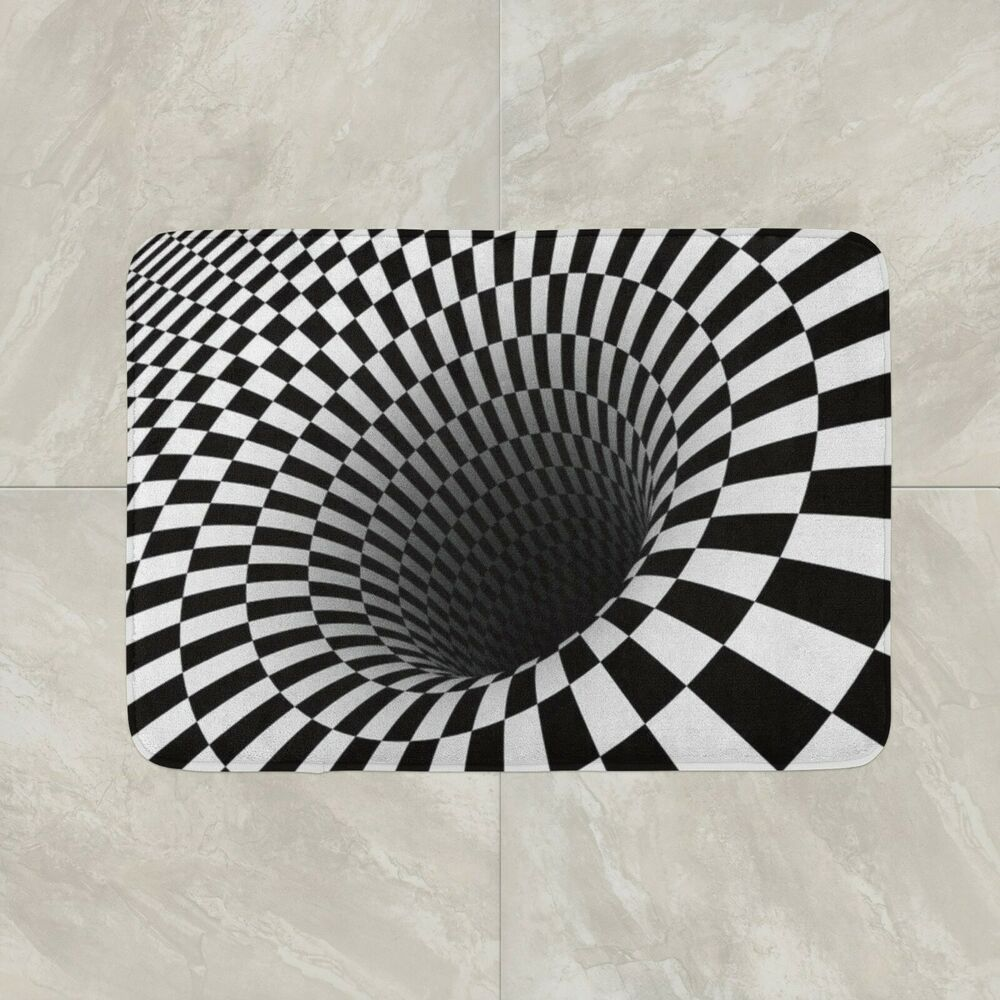 Optical Illusion Door Floor Mat Home House Cotton Fun Joke