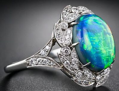 fire opal and diamond ring - Black Opal Wedding Rings