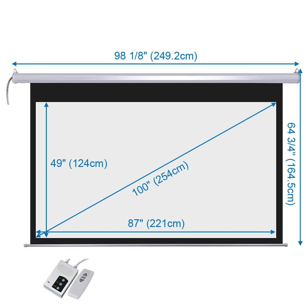 Dsp Motorized Projector Screen 100 16 9 Wall Ceiling Projector Screen Projector Media Room Design