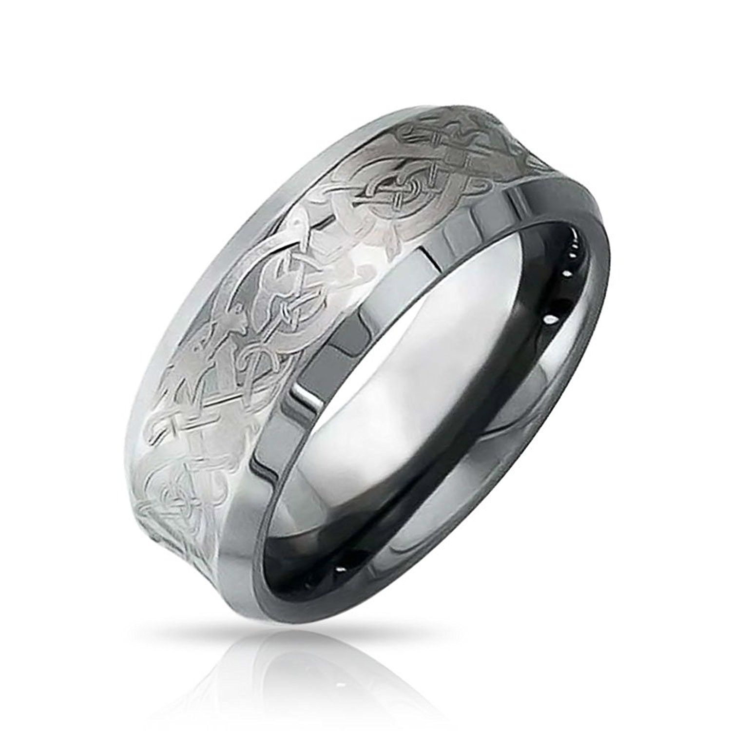 celtic dragon unisex tungsten wedding ring 8mm with engraving