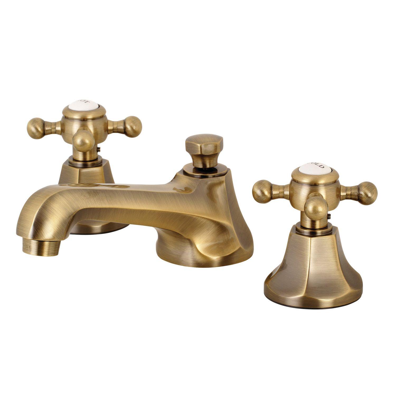 Kingston Brass Widespread Lavatory Faucet Metal Cross Handles Vintage Brass Antique Brass Bathroom Faucet Brass Bathroom Faucets Bathroom Faucets
