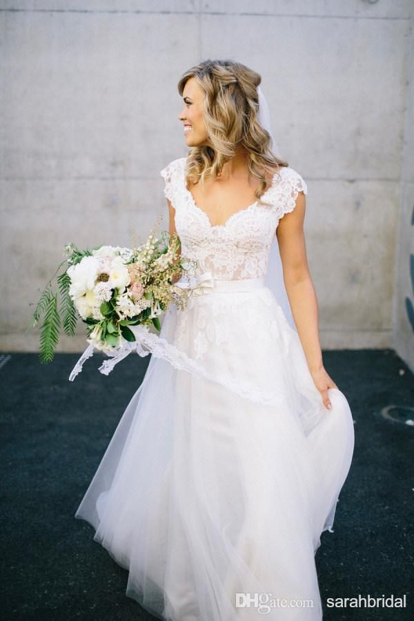 bohemian a line wedding dress affordable 2015 lace short cap sleeve v neck open