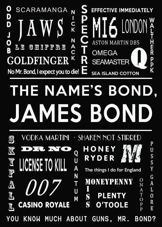 Wall art quotes. Wall decor - James Bond Print 007 print James Bond Movie by GCFPhotography, $18.00
