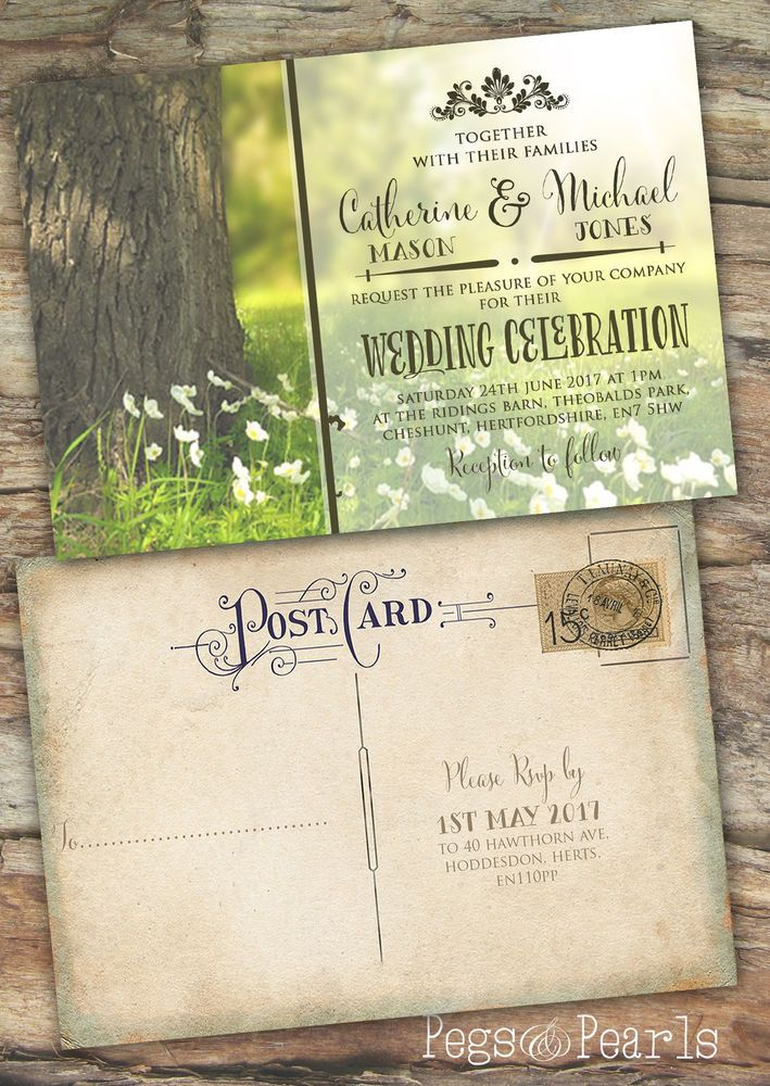 Personalised Photo Spring Rustic Vintage Postcard Wedding Invitations