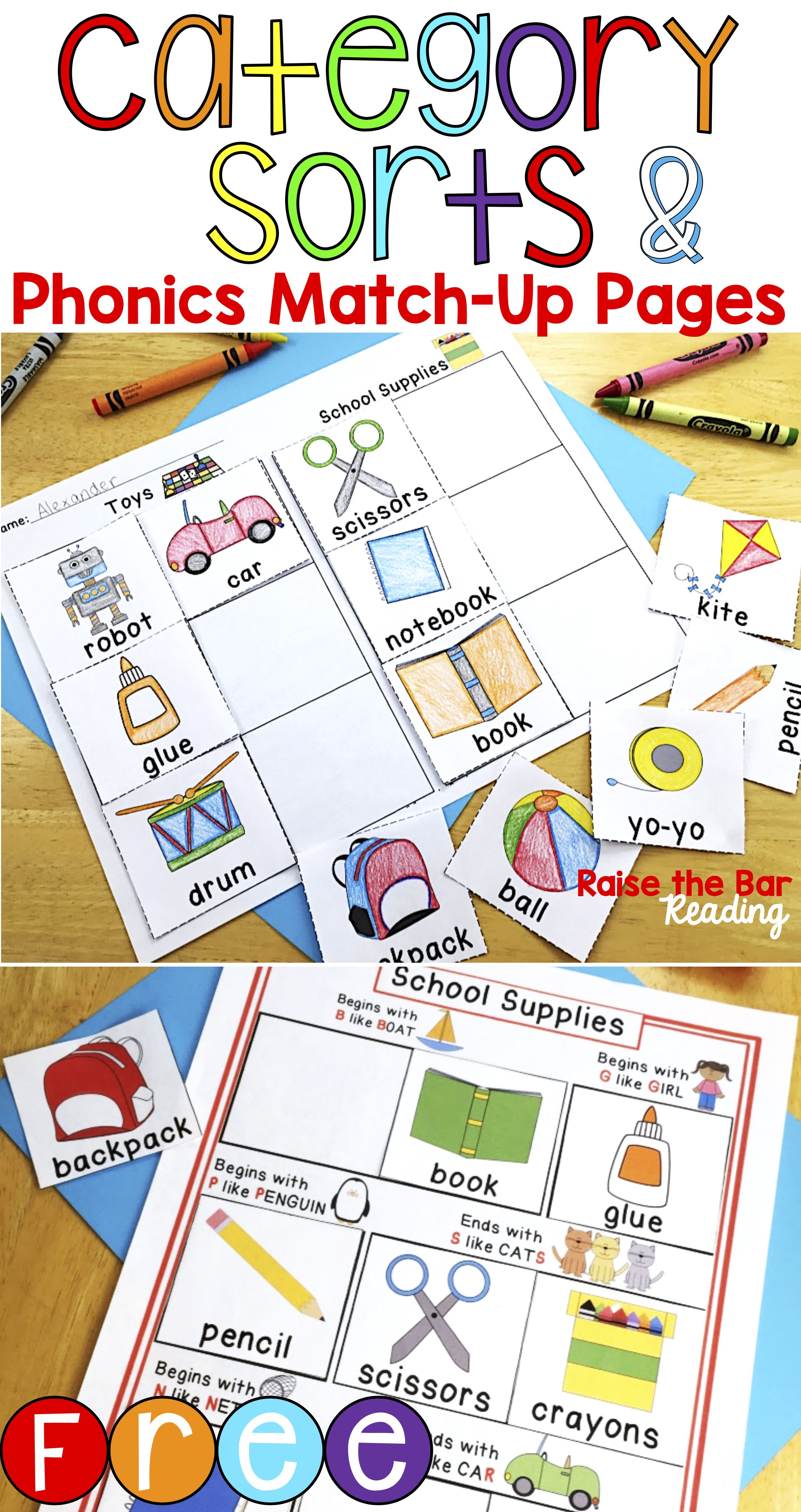 Free Category Sort Toys School Supplies Vocabulary Includes Sorting Cards Picture Only Or With Word Sorting Phonics Phonics Centers Phonics Printables [ 4250 x 2250 Pixel ]