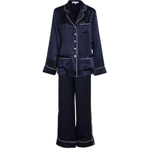COCO NAVY PAJAMA SET ❤ liked on Polyvore featuring intimates, sleepwear, pajamas, silk pajama set, silk pajamas, silk sleepwear, silk pyjamas and silk pjs