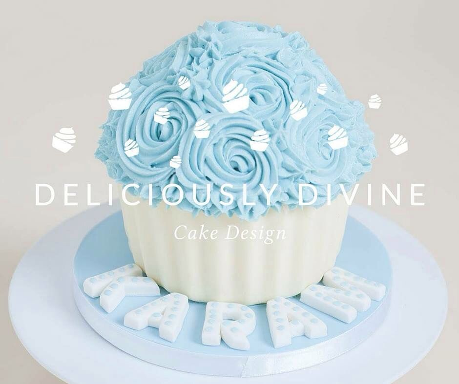Vanilla Smash Cake Asda Uk Filled With Candy: Blue And White Giant Cupcake For A Boys Cake Smash Photo