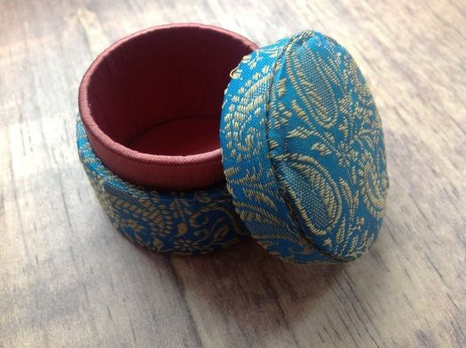 Decorative Round Boxes 400 Decorative Round Trinket Box Blue  Handmadefair Trade