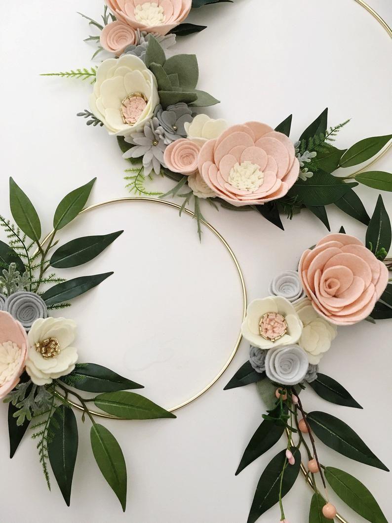 Photo of Blush and Gray Wreath Set    Felt flower wreath    Felt wreath    Wreaths    Floral wreath    Spring wreath    Felt flowers    Nursery decor