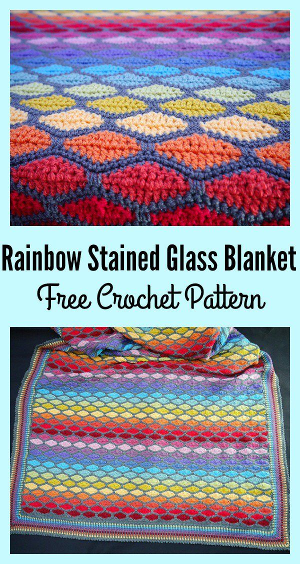 Rainbow Stained Glass Blanket Free Crochet Pattern | Manta, Colchas ...