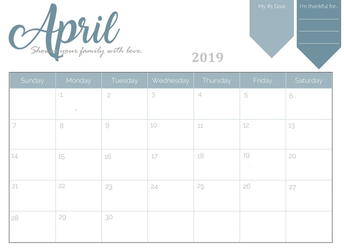 Printable April 2019 Planner Desk Calendar April April2019