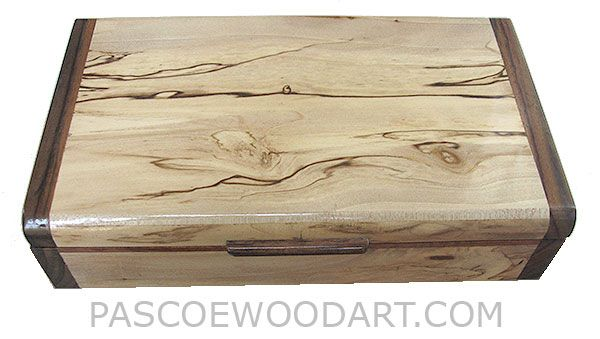 handmade wood box decorative slim wood box desktop box made of spalted maple with - Decorative Wooden Boxes