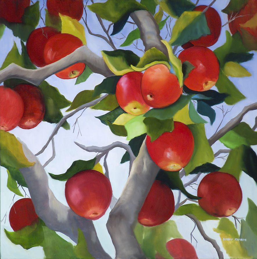 Apple Tree\'\' Oil on Linen by Kathy Sharpe, an artist originally from ...