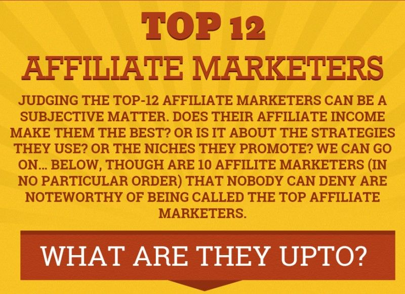 Top 12 Affiliate Marketers (infographic)MyTrickPages.com | MyTrickPages.com