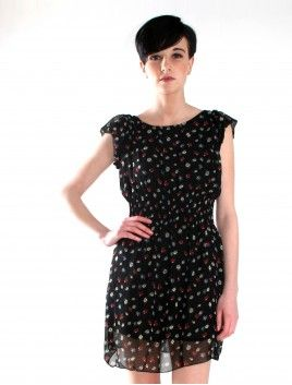 Nikky black floral patterned chiffon elasticated waist summerDress  £12.99