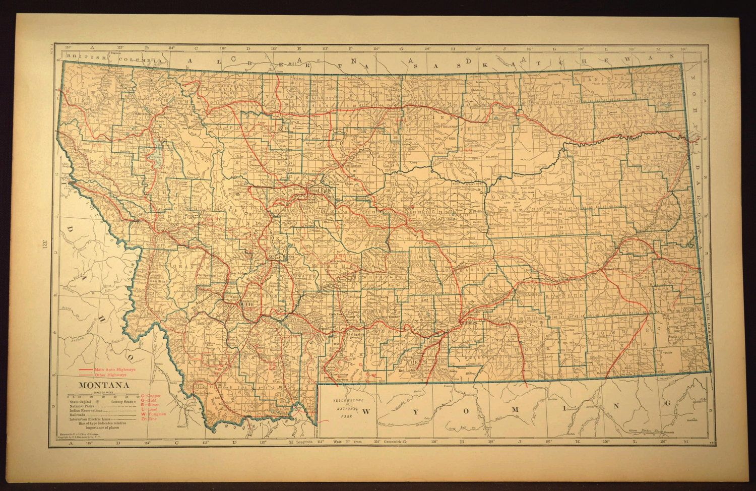 Montana Map LARGE Montana Road Map Highway Wall Art Decor | Montana ...