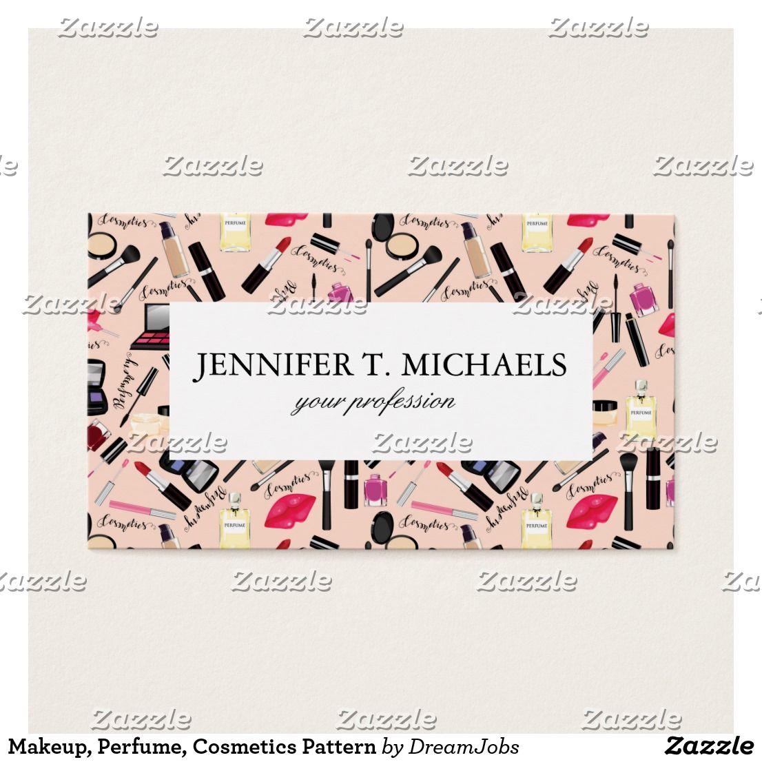 Makeup, Perfume, Cosmetics Pattern Business Card   Dream job