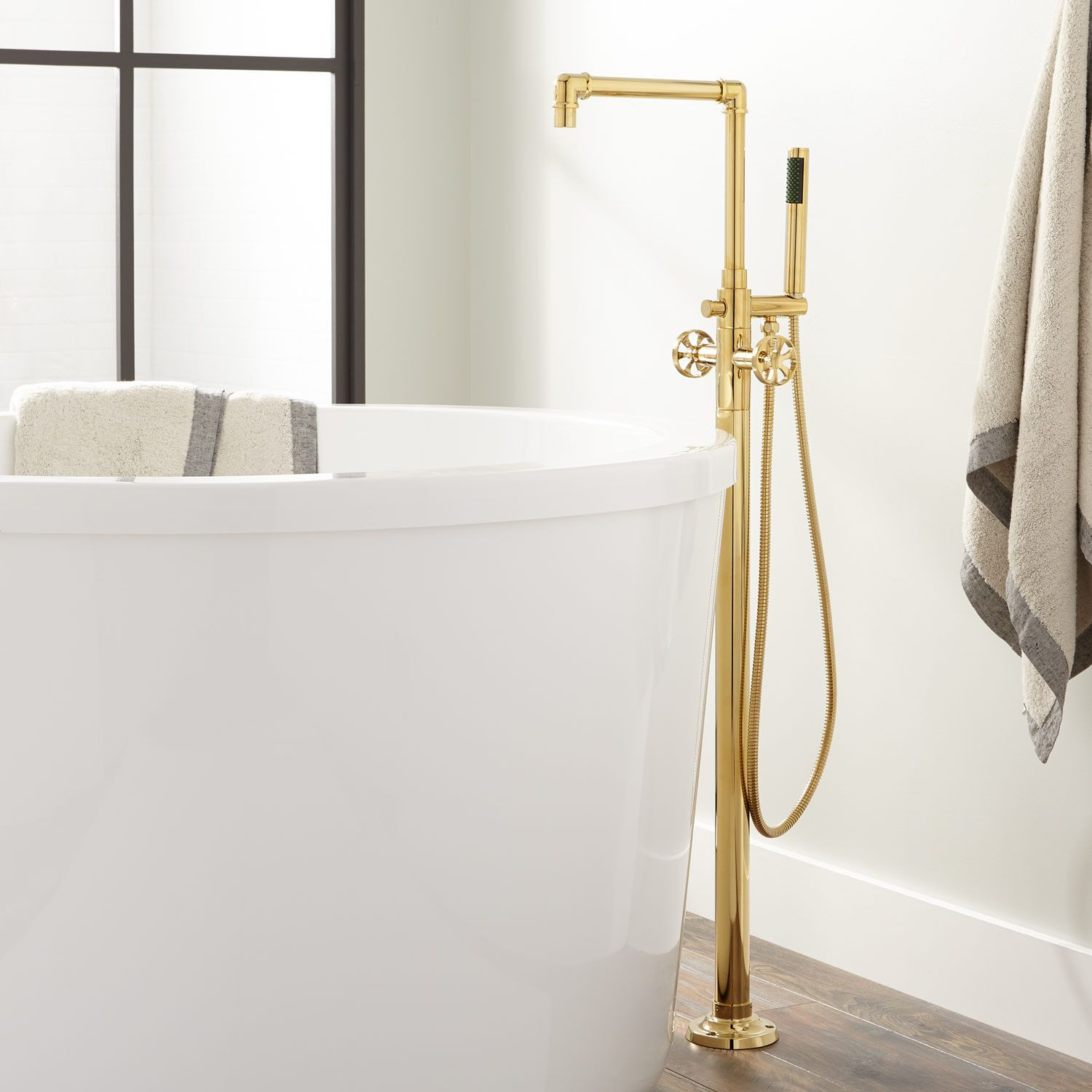 Edison Freestanding Tub Faucet With Hand Shower Bathroom