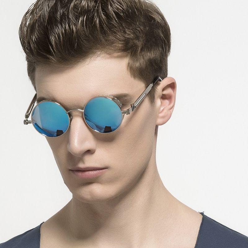 e38175da54 HD.space Gothic Steampunk Mens Sunglasses Coating Mirrored Sunglasses Round  Circle Sun glasses Retro Vintage