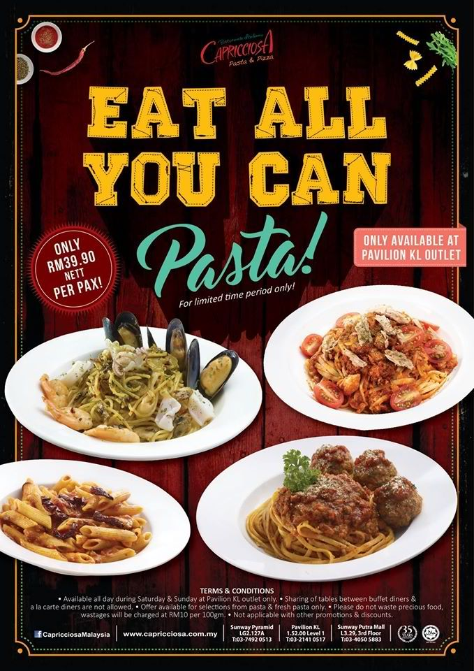 15-30 Apr 2016: Capricciosa Eat ALL you Can Pasta