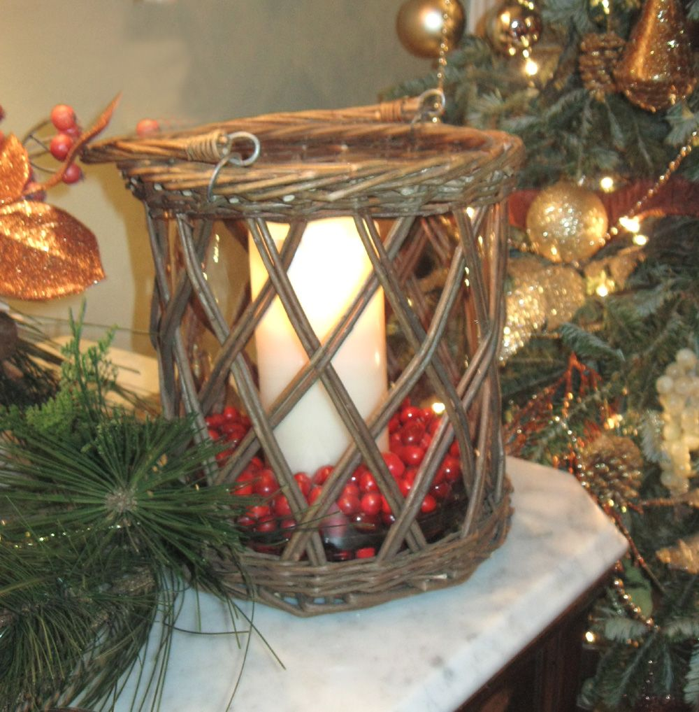 A Romantic Life-The Victorian Gourmet Basket candleholder with cranberries