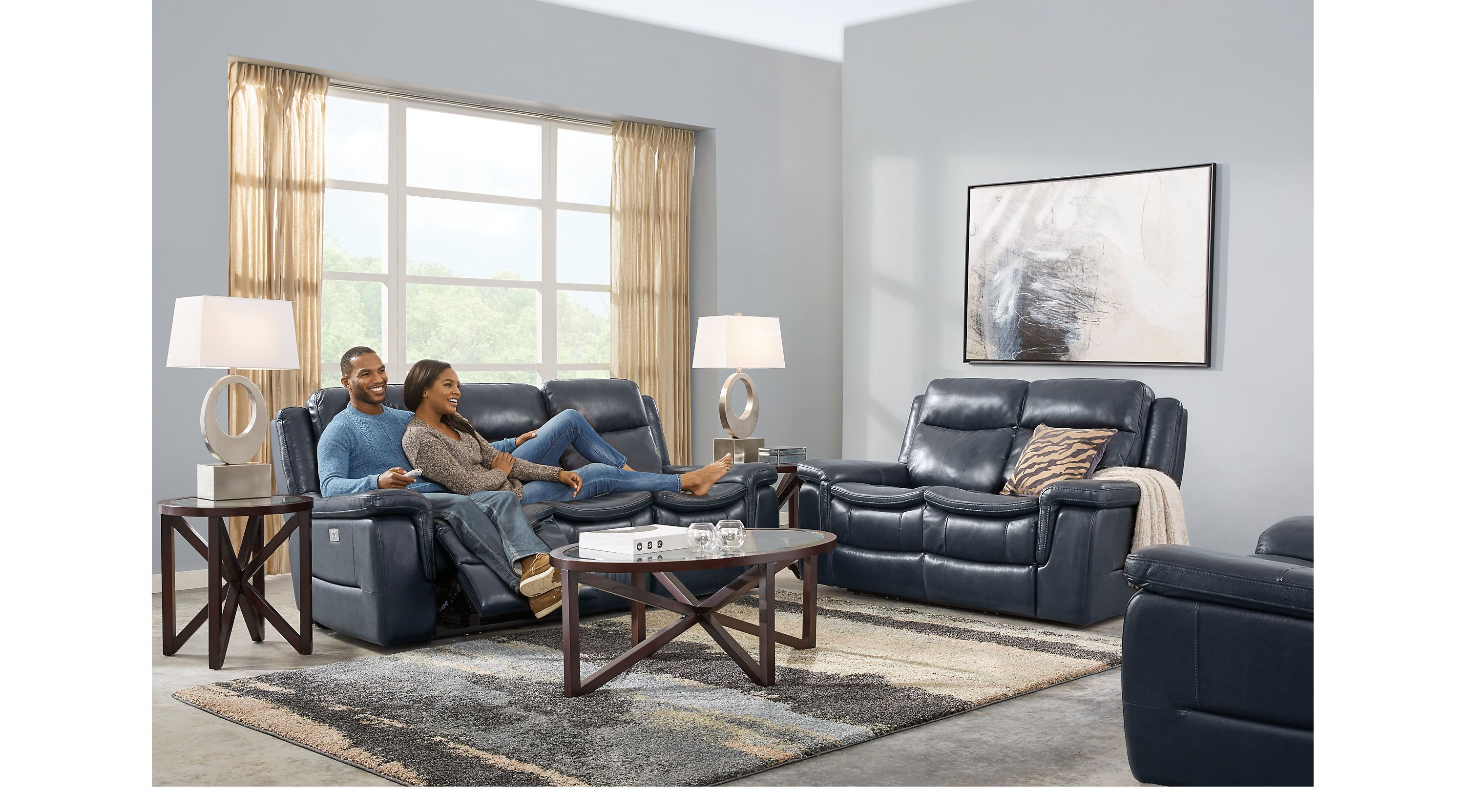 Best Milano Blue 3 Pc Leather Living Room With Reclining Sofa 400 x 300