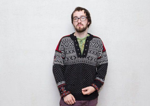 Men  sweater / Nordic knitted cardigan sweater / by Sunnylizard, $47.00