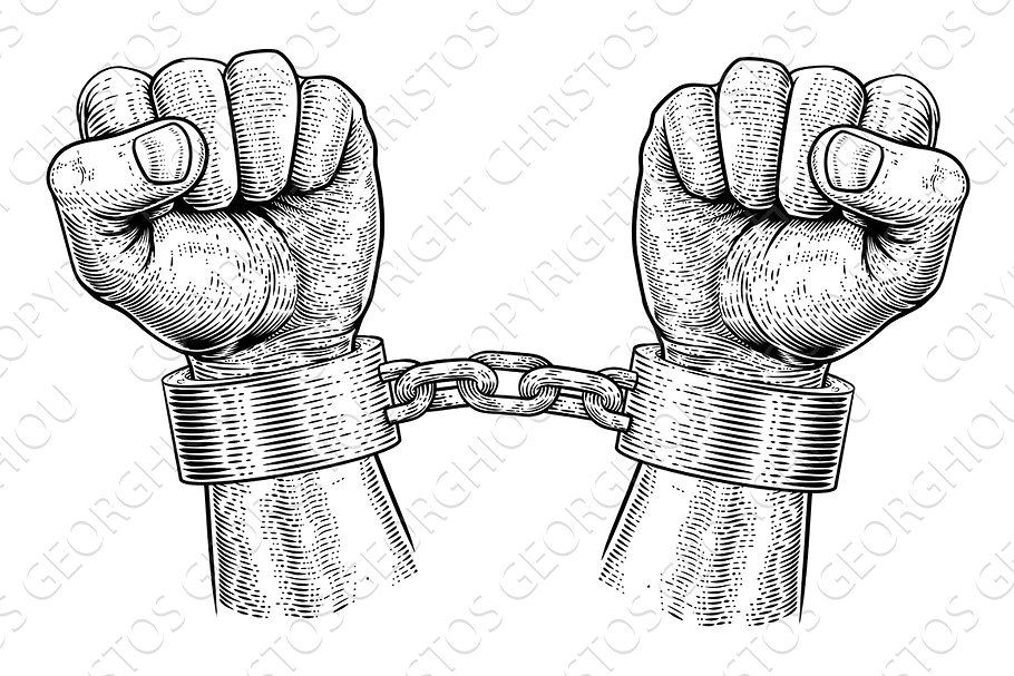 Hands Breaking Chain Shackle Propaganda Posters Fashion Poster Woodcut