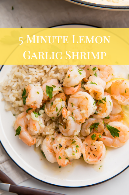 823 5 Minute Lemon Garlic Shrimp This super flavorful lemon garlic shrimp takes only 5 minutes to cook or about 10 minutes total including prep time Oh so quick and easy...