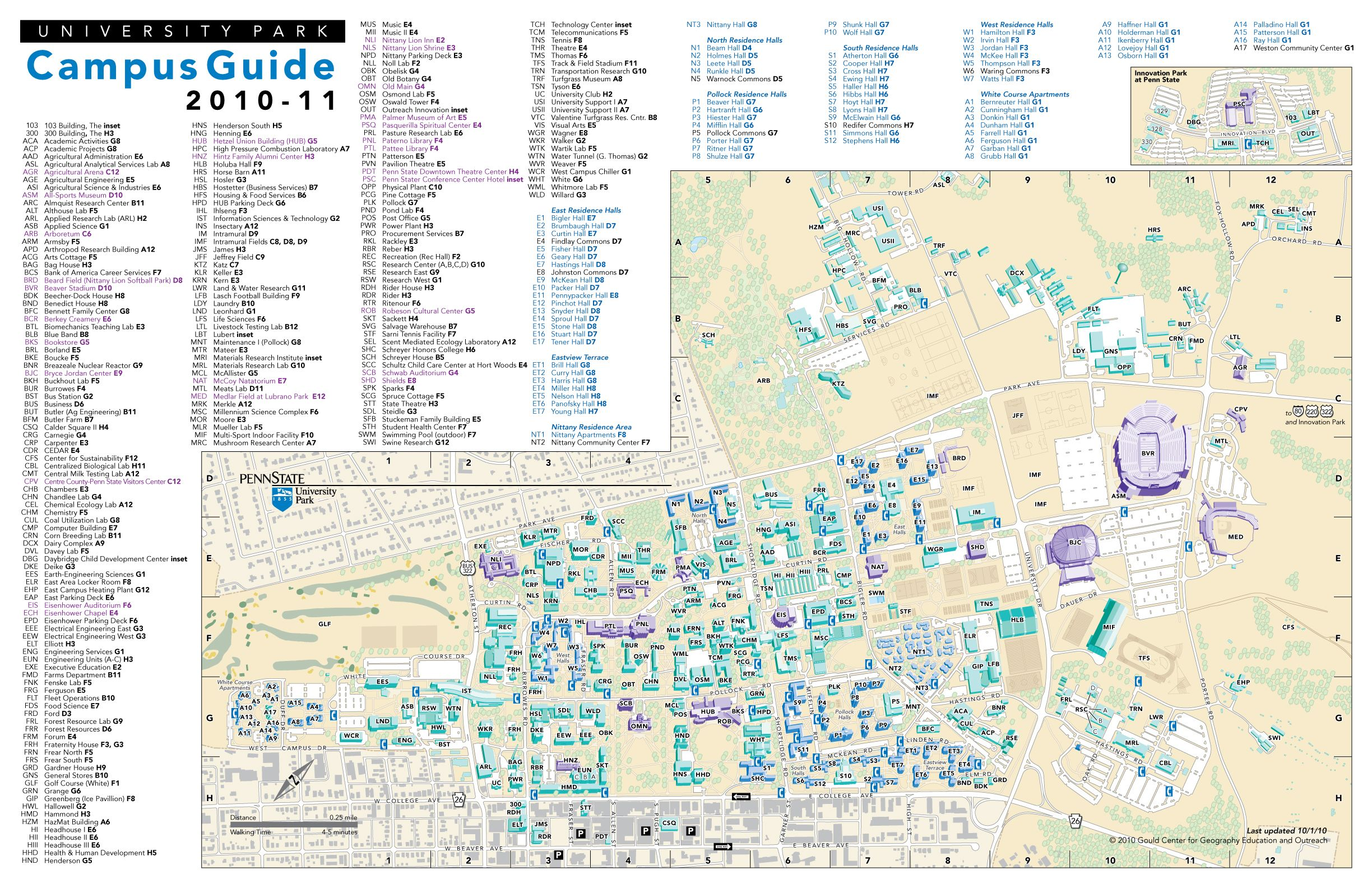 PSU- University Park, Campus Map | Campus map, State college ...