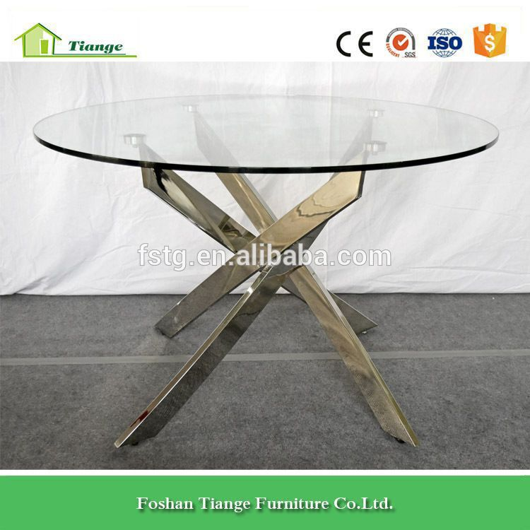 Replica Bontempi Casa Chrome Base And Clear Gl Top Barone Round Dining Table
