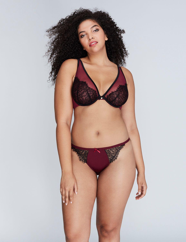 541ebc9a2 Fashion Bug Women s Exposed Lace Unlined Triangle Plunge Bra 40B Purple  Potion